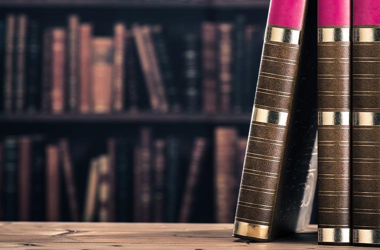 Bücher und Bücherregal